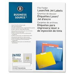 "Business Source File Folder Label - Permanent Adhesive - ""0.66"" Width x 3.43"" Length - 30 / Sheet - Rectangle - Laser, Inkjet - White - Paper - 1500 / Pack"