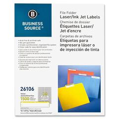 "Business Source File Folder Label - Permanent Adhesive - ""0.66"" Width x 3.43"" Length - 30 / Sheet - Rectangle - Laser, Inkjet - Yellow - Paper - 1500 / Pack"