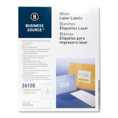 "Business Source Mailing Laser Label - Permanent Adhesive - 3.50"" Width x 5"" Length - Rectangle - Laser - White - 400 / Pack"