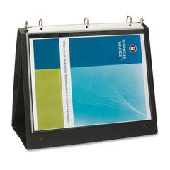 "Business Source Presentation Binder - 1"" Binder Capacity - Letter - 8 1/2"" x 11"" Sheet Size - Ring Fastener - Internal Pocket(s) - Black - Recycled - 1 Each"
