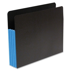 "SJ Paper Fusion Expanding Clutch Pocket - Letter - 8 1/2"" x 11"" Sheet Size - 5 1/4"" Expansion - 23 Pocket(s) - 23 pt. Folder Thickness - Blue, Black - Recycled - 10 / Box"