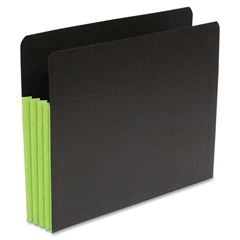 "Fusion Expanding Clutch Pocket - Letter - 8 1/2"" x 11"" Sheet Size - 3 1/2"" Expansion - 23 Pocket(s) - 23 pt. Folder Thickness - Green, Black - Recycled - 25 / Box"