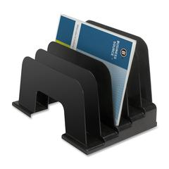 "Business Source Large Step Incline Organizer - 9"" Height x 9.1"" Width x 13.4"" Depth - Desktop - Recycled - Black - Plastic - 1Each"