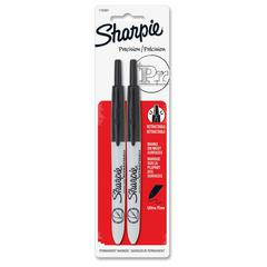 Sharpie Ultra-fine Tip Retractable Markers - Ultra Fine Point Type - Black - 2 / Pack