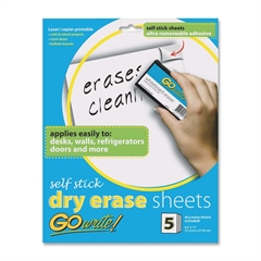 """Pacon GoWrite! Adhesive Dry Erase Sheet - 11"""" (0.9 ft) Width x 8.5"""" (0.7 ft) Length - 5 / Pack"""