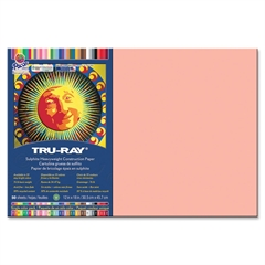 "Tru-Ray Sulphite Construction Paper - 18"" x 12"" - 76 lb Basis Weight - 50 / Pack - Salmon - Sulphite"