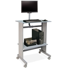 "Buddy Stand-Up Height Work Station with LCD Mount - Rectangle Top - L-shaped Base - 29"" Table Top Width x 20"" Table Top Depth x 0.75"" Table Top Thickness - 56"" Height - Assembly Required - Gray - Lami"