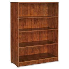 """Lorell Essentials Bookcase - 36"""" x 12.5"""" x 48"""" - 4 Shelve(s) - Square Edge - Finish: Cherry, Laminate"""