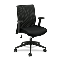 """Basyx by HON VL571 Mid Mesh Back Task Chair - Fabric Black Seat - Black Frame - 27.8"""" x 37.5"""" x 42"""" Overall Dimension"""