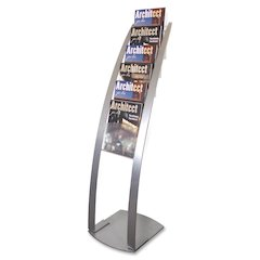 "Deflect-o Contemporary Literature Floor Stand - 6 Compartment(s) - Compartment Size 1.45"" - 49"" Height x 13"" Width x 16.5"" Depth - Floor - Silver - Metal - 1Each"
