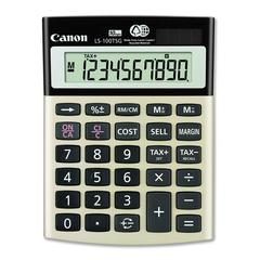"Canon LS100TSG Mini-desktop Calculator - 10 Digits - LCD - Battery/Solar Powered - 1.3"" x 4.1"" x 5.5"" - Black - 1 Each"