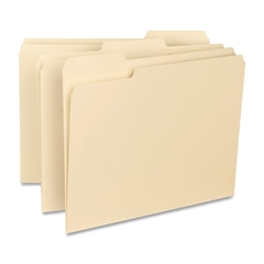 "Smead CutLess® Folders - Letter - 8 1/2"" x 11"" Sheet Size - 3/4"" Expansion - 1/3 Tab Cut - Assorted Position Tab Location - 11 pt. Folder Thickness - Manila - Recycled - 100 / Box"