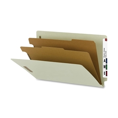 "Smead 100% Recycled End Tab Classification Folders - Legal - 8 1/2"" x 14"" Sheet Size - 2"" Expansion - 4 Fastener(s) - 2 Divider(s) - Pressboard - Gray, Green - Recycled - 10 / Box"