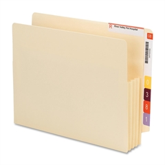 "End Tab Convertible File Pockets - Letter - 8 1/2"" x 11"" Sheet Size - 3 1/2"" Expansion - Manila - Manila - Recycled - 10 / Box"