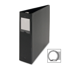"""Business Source Ring Binder - 2"""" Binder Capacity - Letter - 8 1/2"""" x 11"""" Sheet Size - 3 x Round Ring Fastener(s) - Vinyl - Black - Recycled - 1 Each"""