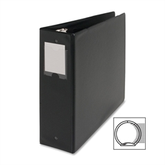 "Business Source Ring Binder - 3"" Binder Capacity - Letter - 8 1/2"" x 11"" Sheet Size - 3 x Round Ring Fastener(s) - Vinyl - Black - Recycled - 1 Each"