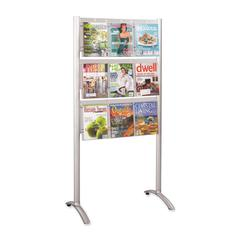 """Safco 9-Pocket Magazine Floor Stand - 9 x Magazine, 18 x Pamphlet - 9 Drawer(s) - 62.8"""" Height x 31.8"""" Width x 20"""" Depth - Floor - Silver - Acrylic, Aluminum - 1Each"""