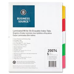 """Business Source Laminated Write-On Tab Indexes - 5 Write-on Tab(s) - 5 Tab(s)/Set - 11"""" Tab Height x 8.50"""" Tab Width - 3 Hole Punched - Self-adhesive, Removable - Multicolor Mylar Tab(s) - 5 / Set"""