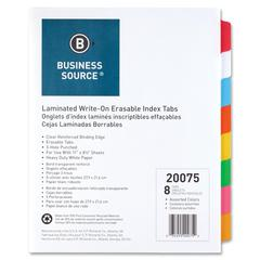 "Business Source Laminated Write-On Tab Indexes - 8 Write-on Tab(s) - 8 Tab(s)/Set - 11"" Tab Height x 8.50"" Tab Width - 3 Hole Punched - Self-adhesive, Removable - Multicolor Mylar Tab(s) - 8 / Set"
