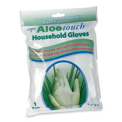 Medline HKP195016 Aloe Touch Household Latex Gloves - Large Size - White - Textured, Non-slip Grip, Comfortable, Moisture Resistant - For Cleaning - 8 / Box