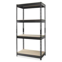 "Hirsh Rivet Shelf Unit - 30"" x 16"" x 60"" - 4 x Shelf(ves) - 3800 lb Load Capacity - Rust Resistant - Black - Powder Coated - Steel, Particleboard - Recycled - Assembly Required"