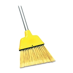 "Genuine Joe Angle Broom - 47"" Length Handle - 54.5"" Overall Length - 1 Each - Polyvinyl Chloride (PVC) Bristle, Plastic Handle, Polypropylene Head - Yellow"