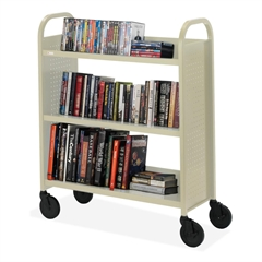 "Basics Voyager Single-Sided Premium Book Truck - 3 Shelf - 4 Casters - 5"" Caster Size - Steel - 36"" Width x 14"" Depth x 44"" Height - Putty"