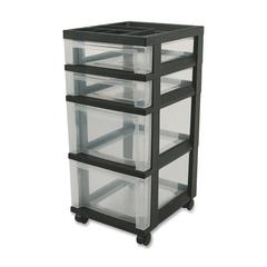 "Mini Storage Cart - 4 Drawer - 4 Casters - Plastic - 14.3"" Width x 12.1"" Depth x 26.4"" Height - Black"
