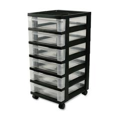 "Iris Mini Storage Cart - 6 Drawer - 4 Casters - Plastic - 14.3"" Width x 12.1"" Depth x 26.4"" Height - Black"