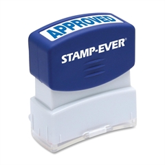 "U.S. Stamp & Sign Pre-inked APPROVED Stamp - Message Stamp - ""APPROVED"" - 0.56"" Impression Width x 1.69"" Impression Length - 50000 Impression(s) - Blue - 1 Each"