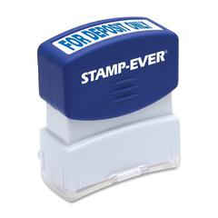 "U.S. Stamp & Sign Pre-inked For Deposit Only Stamp - Message Stamp - ""FOR DEPOSIT ONLY"" - 0.56"" Impression Width x 1.69"" Impression Length - 50000 Impression(s) - Blue - 1 Each"