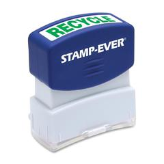 "U.S. Stamp & Sign Pre-inked Stamp - Message Stamp - ""RECYCLE"" - 0.56"" Impression Width x 1.69"" Impression Length - 50000 Impression(s) - Green - 1 Each"