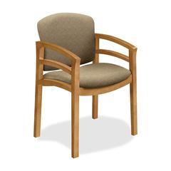 "Invitation 2112 Double Rail Arm Guest Chair - Fabric Oatmeal Seat - Wood Harvest Frame - Four-legged Base - Harvest, Oatmeal - 20"" Seat Width x 17.50"" Seat Depth - 23.5"" Width x 22"" Depth x 33.1"""
