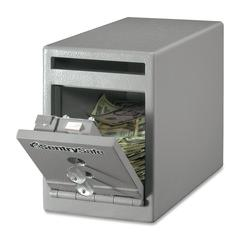 "Dual Key Lock Under Counter Safe - 0.25 ft³ - Key Lock - Theft Resistant - Internal Size 6.50"" x 5.80"" x 10.50"" - Overall Size 8.5"" x 6"" x 12.3"" - Gray - Steel"