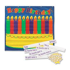 """Pacon Birthday Pocket Chart - 33"""" Height x 35"""" Width - Wall Mountable - Blue - 1Each"""