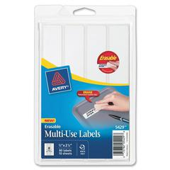 "Avery Erasable Labels - Permanent Adhesive - 0.88"" Width x 2.88"" Length - Rectangle - White - 80 / Pack"