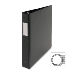 "Business Source Ring Binder - 1"" Binder Capacity - Letter - 8 1/2"" x 11"" Sheet Size - 3 x Round Ring Fastener(s) - Vinyl - Black - 1 Each"