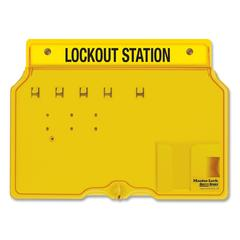 "Master Lock Unfilled Lockout Station - 4 x Padlock - 12.3"" Height x 16"" Width x 1.8"" Depth - Wall Mountable - Yellow Frame, Cover - Plastic - 1Each"