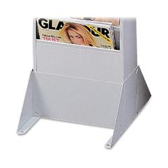 "Literature Rack Base - 4.9"" Height x 10"" Width x 12.1"" Depth - Wall Mountable, Floor - Recycled - Platinum - Steel - 1Each"