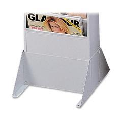 "Buddy Literature Rack Base - 4.9"" Height x 10"" Width x 12.1"" Depth - Wall Mountable, Floor - Recycled - Platinum - Steel - 1Each"