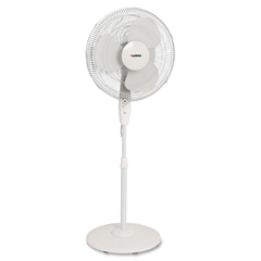 "Lorell Floor Fan - 3 Blades - 16"" Diameter - 3 Speed - Oscillating, Timer-off Function, Remote - 48"" Height x 4.7"" Width x 18.3"" Depth - Plastic Blade - White"