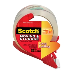 "Scotch Greener Mailing and Storage Packaging Tape on a Refillable Dispenser - 1.88"" Width x 38.20 yd Length - 3"" Core - Acrylic Backing - Dispenser Included - Handheld Dispenser - 1 Roll - Clear"