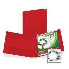 "Earth's Choice Bio-based Round Ring Storage Binder - 1 1/2"" Binder Capacity - Round Ring Fastener - 2 Internal Pocket(s) - Polypropylene - Red - Recycled - 1 Each"