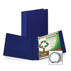 "Earth's Choice Bio-based Round Ring Storage Binder - 1 1/2"" Binder Capacity - Round Ring Fastener - 2 Internal Pocket(s) - Polypropylene - Blue - Recycled - 1 Each"