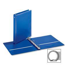 "Cardinal EconomyValue Round Ring Binder - 1"" Binder Capacity - Letter - 8 1/2"" x 11"" Sheet Size - 225 Sheet Capacity - 3 x Round Ring Fastener(s) - 2 Inside Front & Back Pocket(s) - Vinyl - Blue - 1 E"