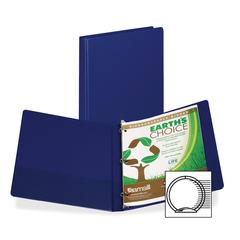 "Samsill Earth's Choice Bio-based Round Ring Storage Binder - 1/2"" Binder Capacity - Round Ring Fastener - 2 Internal Pocket(s) - Polypropylene - Blue - Recycled - 1 Each"