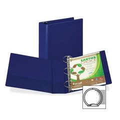"Samsill Earth's Choice Round-ring Storage Binders - 3"" Binder Capacity - Round Ring Fastener - 2 Internal Pocket(s) - Polypropylene - Blue - Recycled - 1 Each"