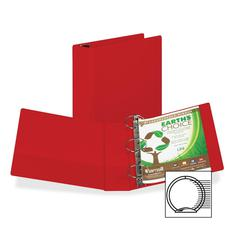 "Samsill Earth's Choice Round-ring Storage Binders - 3"" Binder Capacity - Round Ring Fastener - 2 Internal Pocket(s) - Polypropylene - Red - Recycled - 1 Each"