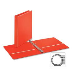 "Cardinal EconomyValue Round Ring Binder - 1"" Binder Capacity - Letter - 8 1/2"" x 11"" Sheet Size - 225 Sheet Capacity - 3 x Round Ring Fastener(s) - 2 Inside Front & Back Pocket(s) - Vinyl - Red - 1 Ea"