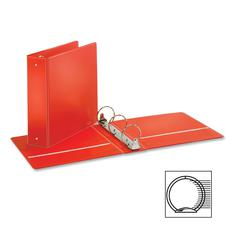 "Cardinal EconomyValue Round Ring Binder - 3"" Binder Capacity - Letter - 8 1/2"" x 11"" Sheet Size - 625 Sheet Capacity - 3 x Round Ring Fastener(s) - 2 Inside Front & Back Pocket(s) - Vinyl - Red - 1 Ea"